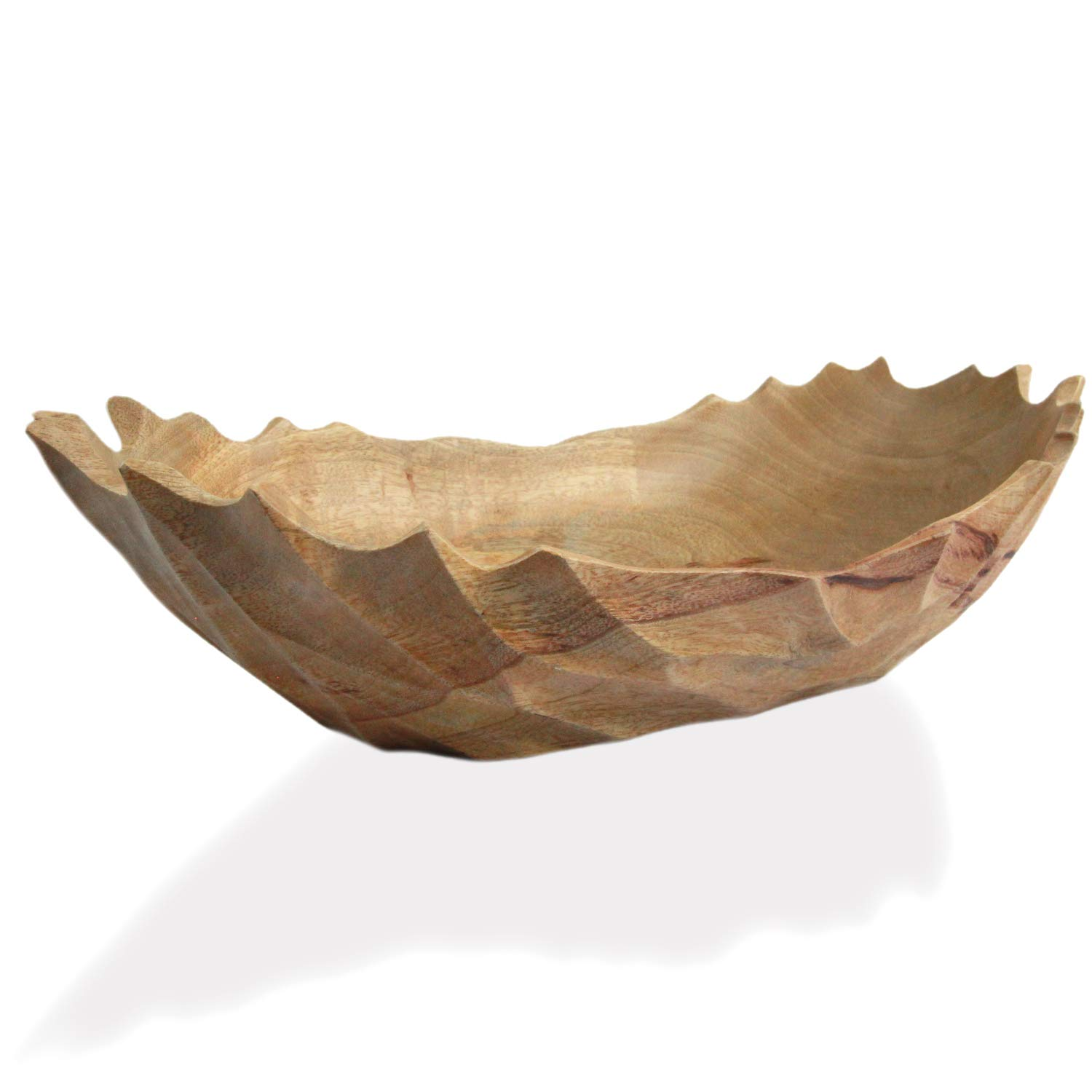 roro Modern Handcarved Wood Grooved Centerpiece Bowl, 16 Inch Natural