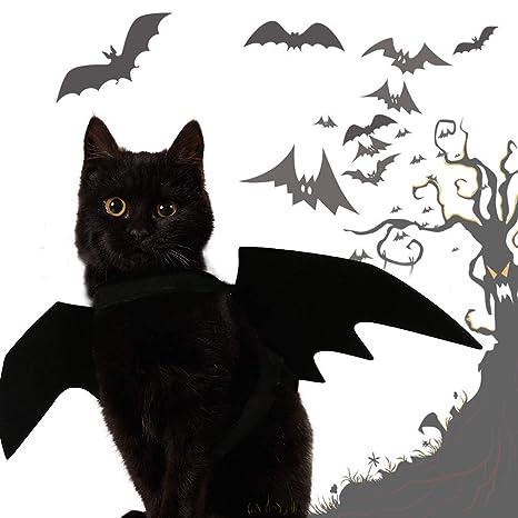 Xdffy Gato Disfraz, Halloween Mascota Murciélago Alas para Gato Perro Pequeña Animal, Mascota Disfraz