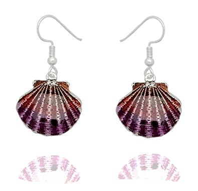 8ceb27ec5 Amazon.com: DianaL Boutique Silver Tone Beautiful Seashell Earrings ...