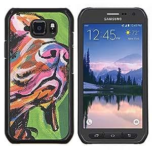 LECELL--Funda protectora / Cubierta / Piel For Samsung Galaxy S6Active Active G890A -- Hocico Hocico de perro Arte Pintura colorida --