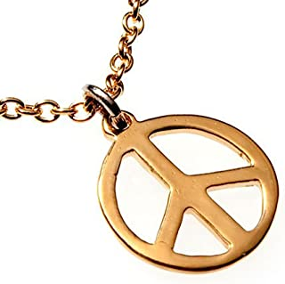 "product image for Delicate Peace Symbol Gold-Dipped Pendant Necklace on 18"" Rolo Chain"