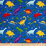 Lost World Dinosaurs Royal/Multi Fabric By The Yard
