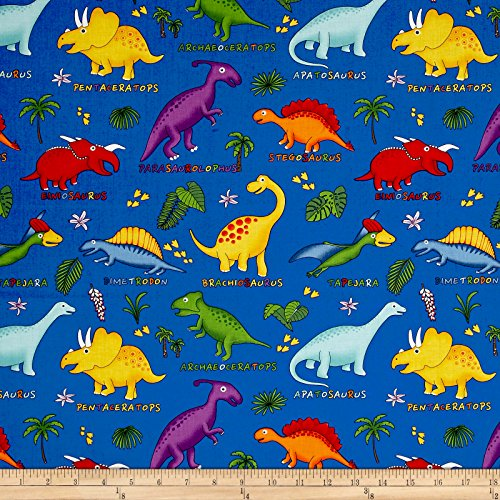 Fabri-Quilt Lost World Dinosaurs Royal/Multi Fabric By The Yard
