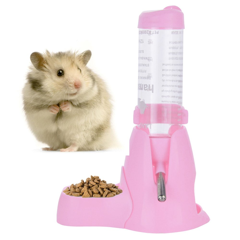 125ml Pet Water Bottle,Pet Drinking Bottle with Food Container Base Hut for Hamsters Rats Guinea-pigs Ferrets Rabbits Small Animals Hanging Water Feeding Bottles Auto Dispenser (Pink)