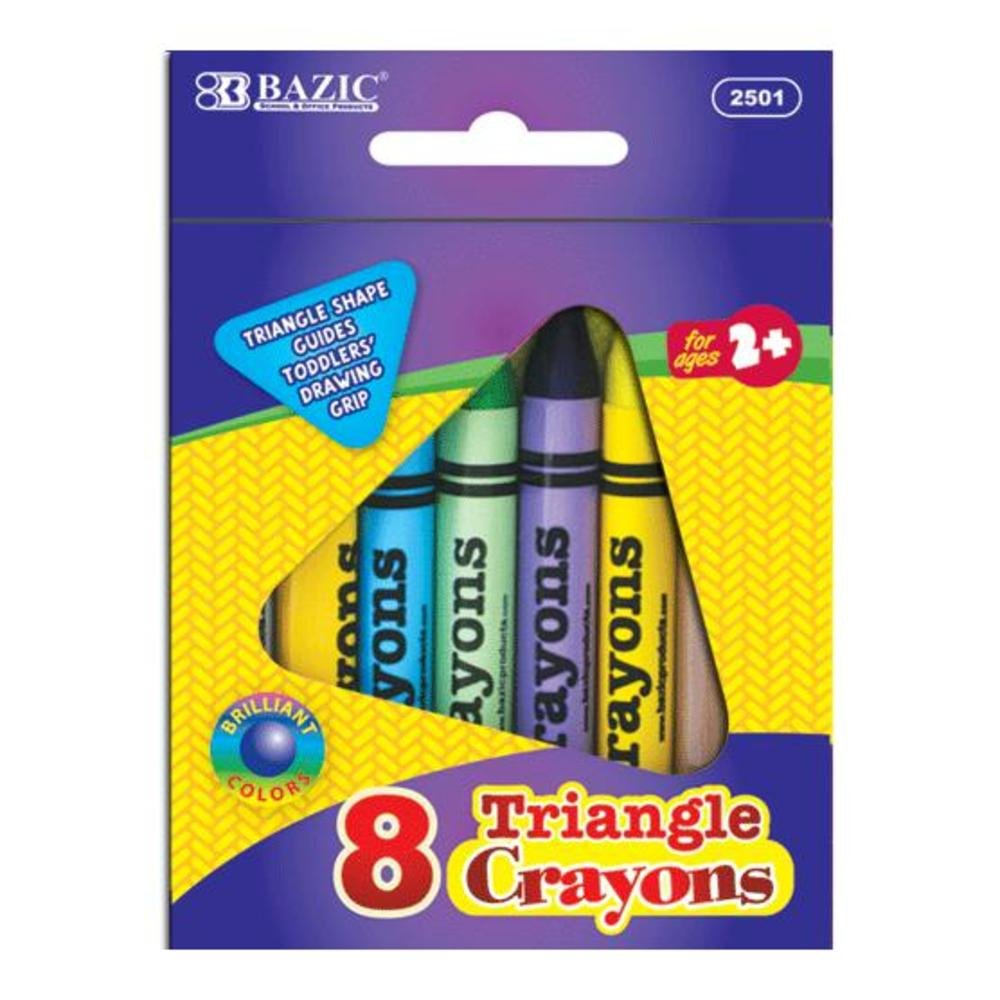 BAZIC Color Premium Quality Super Jumbo Triangle Crayons 72 Packs of 8