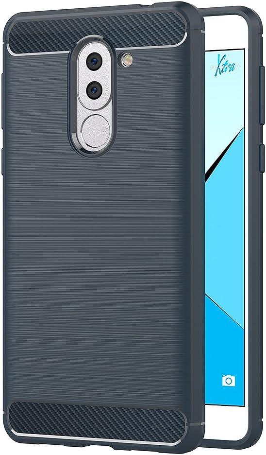 5,5 Pouces Bleu Silicone Coque pour Huawei Honor 6X Housse Fibre de Carbone Etui Case AICEK Coque Honor 6X