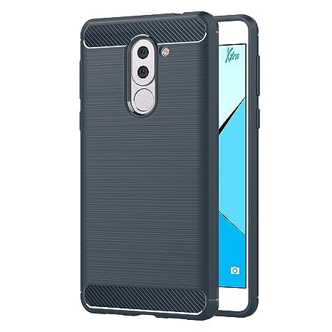 AICEK Funda Honor 6X, Azul Silicona Fundas para Huawei Honor 6X Carcasa Honor 6X Fibra de Carbono Funda Case (5,5 Pulgadas)