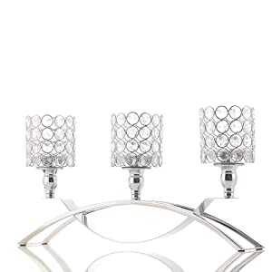 VINCIGANT 3 Arms Crystal Candle Holders for Housewarming Fireplace Wedding Table Centerpieces, Home Decor Accents