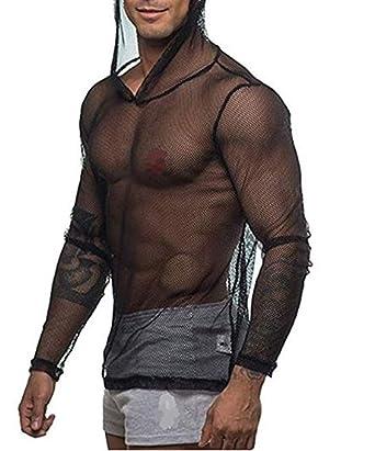 Agoky Herren Langarmshirt Netzshirt Netzhemd Hoodie Männer sexy T-Shirt  Tops transparentes Muskelshirt Clubwear M 8027aa1c89