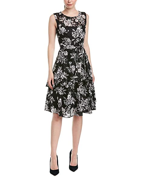 Tahari By Asl Womens Puff Print Sleeveless Lace Dress With