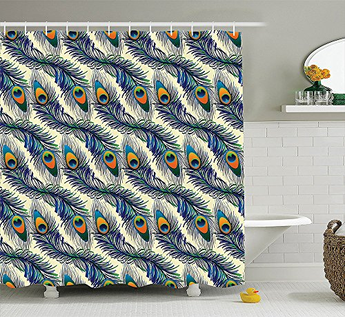 Peacock Decor Collection Exotic Peacock Feathers Pattern Vintage Style Ornamental Creative Illustration Polyester Fabric Bathroom Shower Curtain Set Navy Green Orange