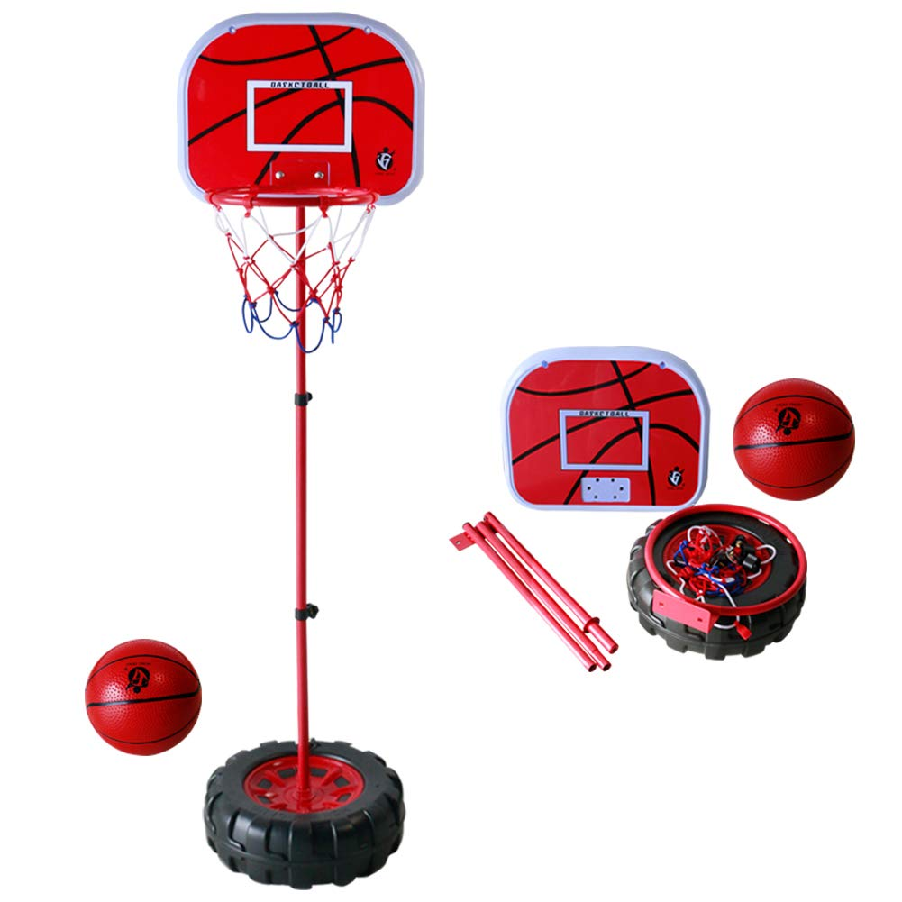 Basketball Stand & Hook with Net and Sport Ball Games Toy Kit for Youth, Children, Toddlers, Kids, Little Boys, Little Girls Indoors and Outdoors, Height adjustable, Metal Frame and Basket, Easy Insta