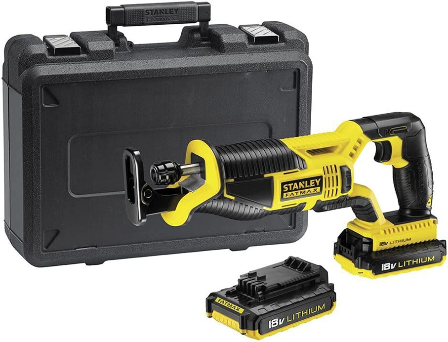 STANLEY FATMAX FMC675D2-QW - Sierra de sable 18V con 2 baterías de litio 2Ah y maletín