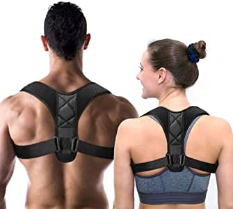 SUNWOOD Back Posture Corrector for Men & Women - Back Brace Straightener for Spine & Clavicle Support - Relives Pain in Neck & Shoulder Caused by Slouching Hunching Kyphosis - Adjustable Comfortable