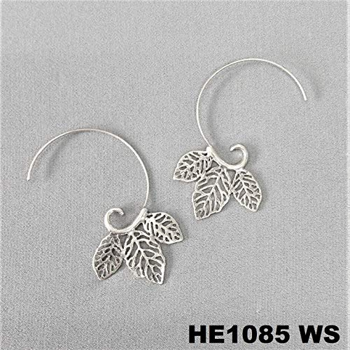 (Bohemian Style Silver Finished Tree Leaves Design Long Hook Half Hoop Earrings For Women Set)