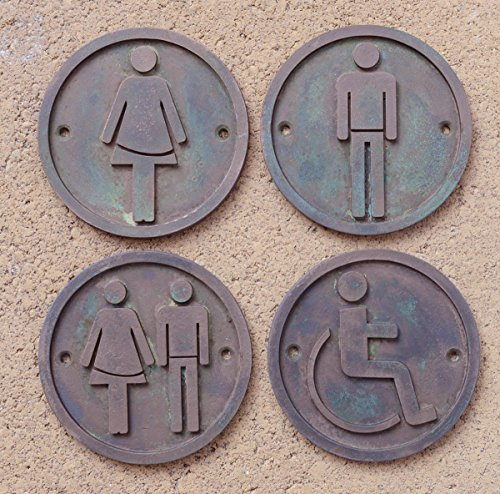 set-of-4-toilet-door-signs-male-female-wheel-chair-disabled-unisex-bathroom-sign-hand-made-bronze-re
