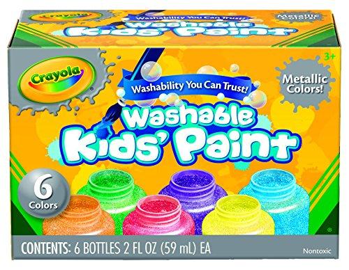 Crayola Washable 메탈릭 페인트 세트, 2 온스, 6 카운트/Crayol..