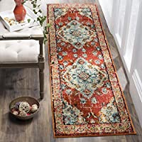 Safavieh Monaco Collection MNC243H Vintage Oriental Orange and Light Blue Distressed Runner (22 x 12)