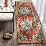 "Safavieh Monaco Collection Vintage Oriental Orange and Light Blue Distressed Runner (22"" x 6)"