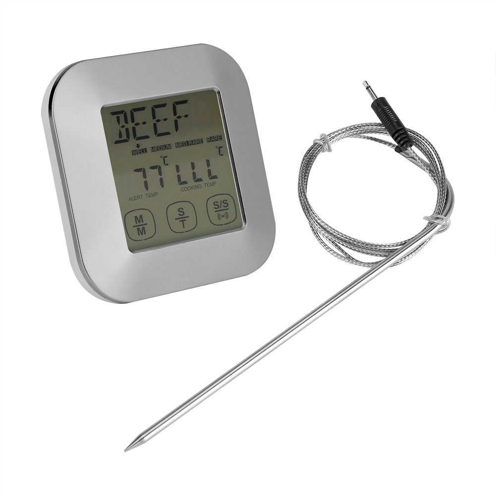 Cooking Thermometer Touchscreen Digital Food Thermometer Timer Meat BBQ Steak Smoker Oven Sensor Probe