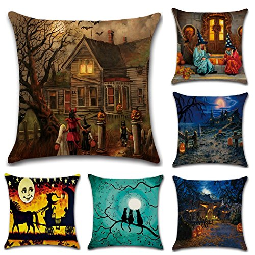 - Halloween Square Pillowcases,18 X 18 Inch Hallowmas Decorative Throw Pillow Cover Polyester Pillowcase 6-Pack (Style 1)