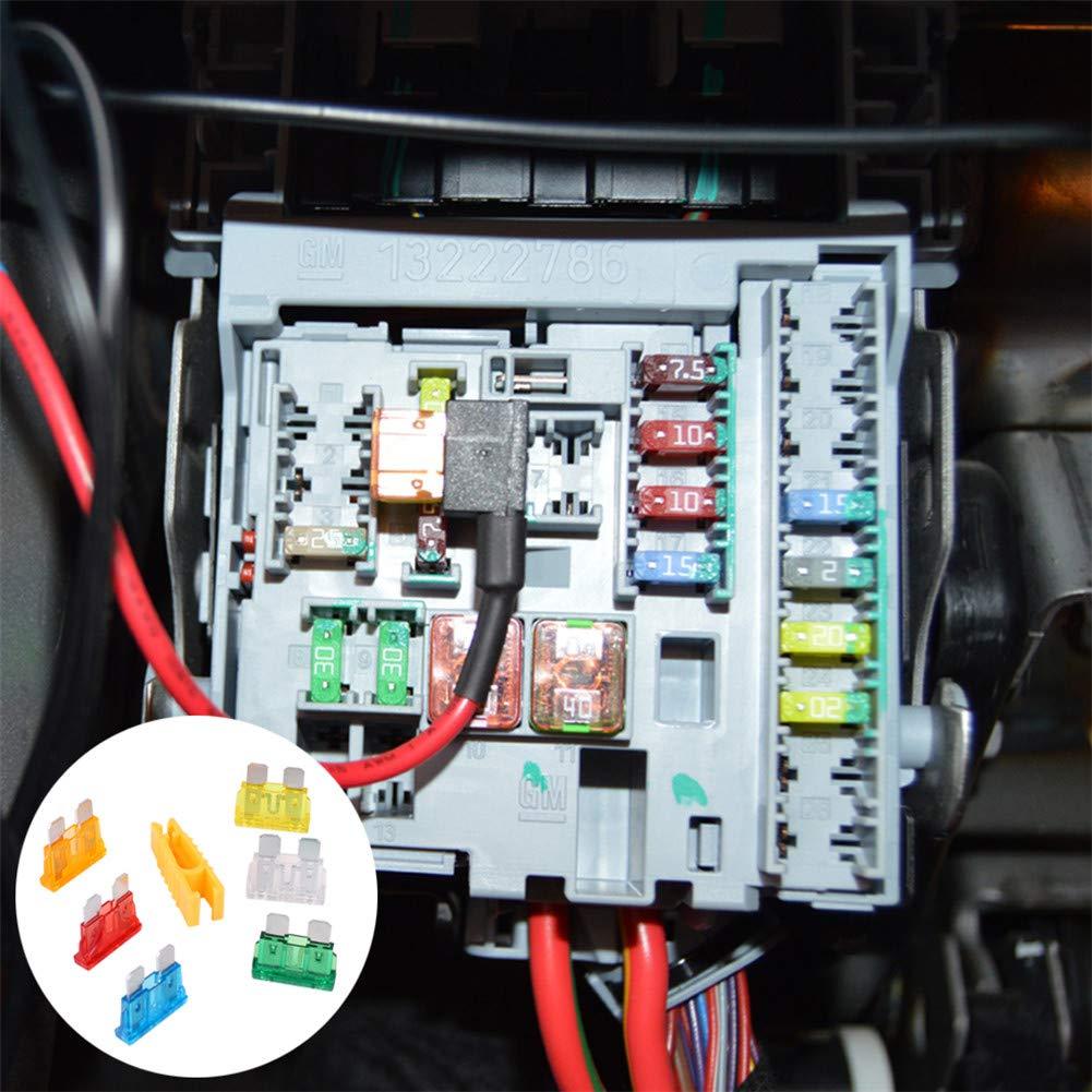 UNHO Mini Fusibles Voiture Ensemble 120 PCS avec Un Pince Jaune Bo/îte /à fusibles en Plastique et Alliage Zn L/ég/èr et Durable Assortiment Fusible Automobile Bonne diversit/é damp/érages