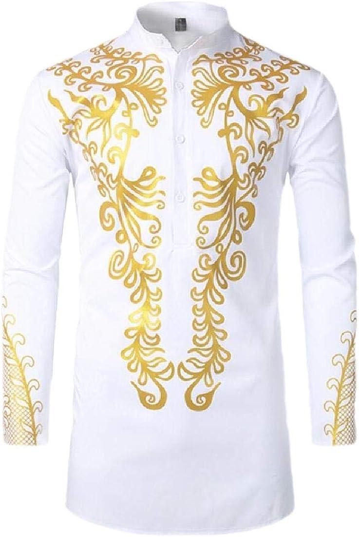 WSPLYSPJY Mens African Style Print Long Sleeve Dashiki Shirt Top Blouse