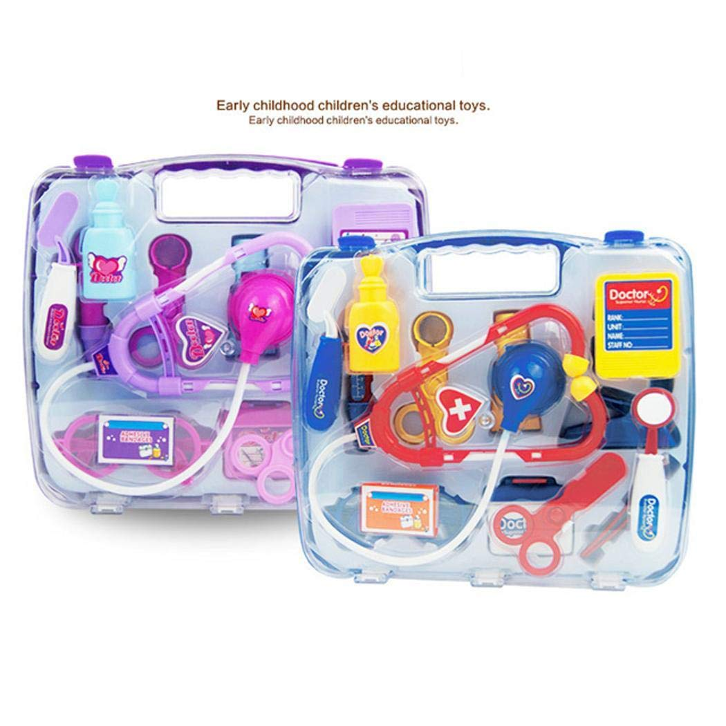Voiks Kids Doctor Kit, 14 Pcs Pretend Doctor Role Play Kit, Pretend Play Doctor Set Doctor Clothes Accessories w/Carry Bag Included