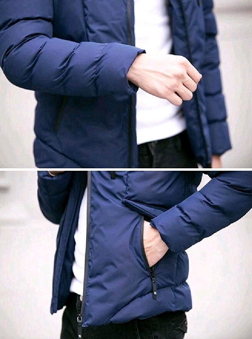 Nicelly Mens Pure Color Short Warm Windproof Plus Size Jacket Coat