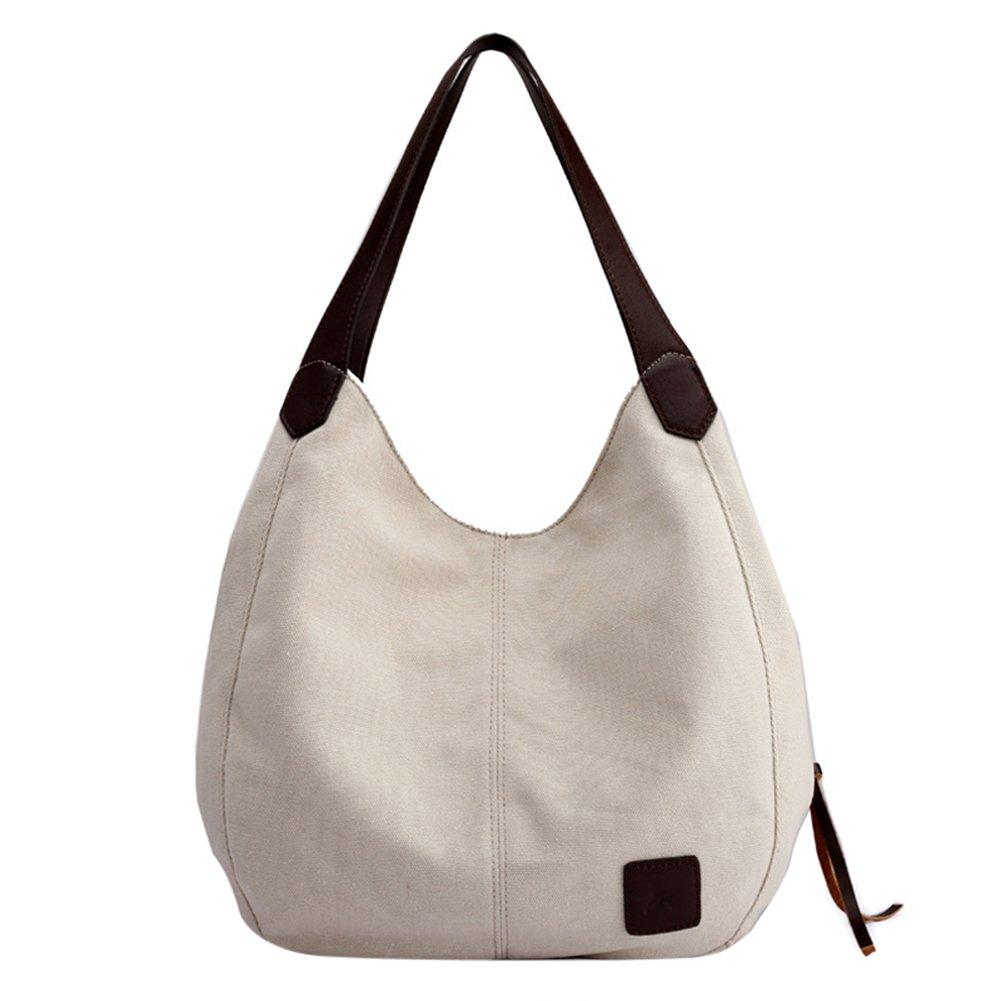 Women's Casual Handbag Canvas Vintage Hobo Shoulder Tote Top Handle Shopper Handbags Daily Purse