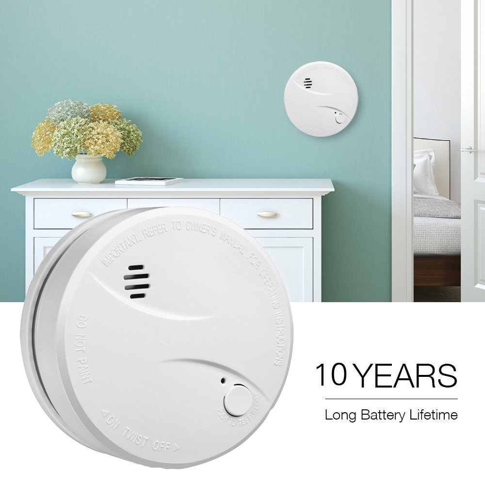 HEIMAN Smoke Alarm, 10-Year Battery Operated Smoke Detector Fire ...
