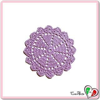 Sottobicchiere rotondo lilla all'uncinetto in filato di cotone - Dimensioni: ø 11 cm - Handmade - ITALY