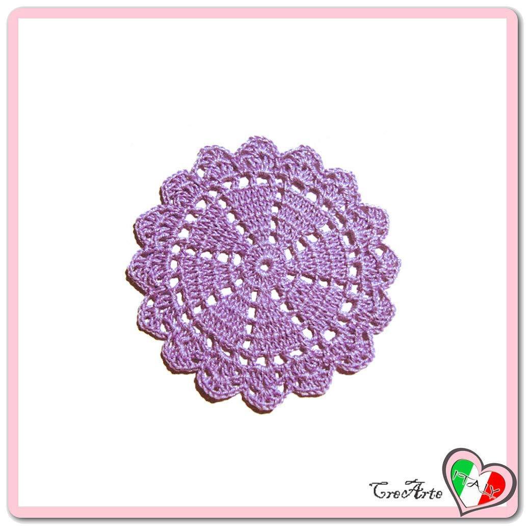 Posavasos redondo lila de ganchillo - Tamaño: ø 11 cm ...