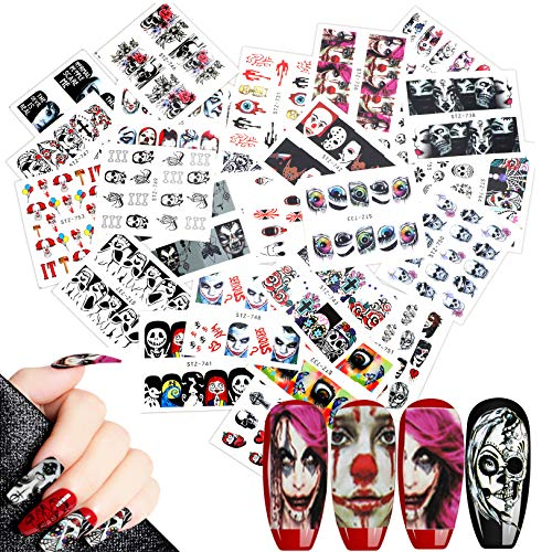 Easy Halloween Nail (25 Sheets Halloween Nail Decals Stickers, AKWOX Water Transfer Grimace Skull Eye Nail Art Wrap Stickers Manicure Kits for DIY Nail)