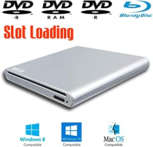 Slot Loading Portable External Blu-ray DVD Players, for Windows 10 2-in-1 15 17 Inch Touch Screen Laptop & Desktop Computer, Super Multi Blue-ray Player 8X DVD+-R DL CD-RW Burner Optical Drive Silver