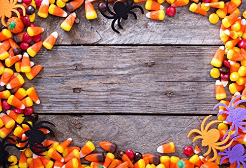 Leowefowa Halloween Candy Corn Frame Rustic Table Backdrop 5x3ft Vinyl Photography Backgroud Halloween Dinner Party Rural Style Spider Biscuits Harvest Party Children Trick or Treat -