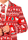 Festified Mens Holiday Reindeer Ugly Suit Coat and Tie in Red