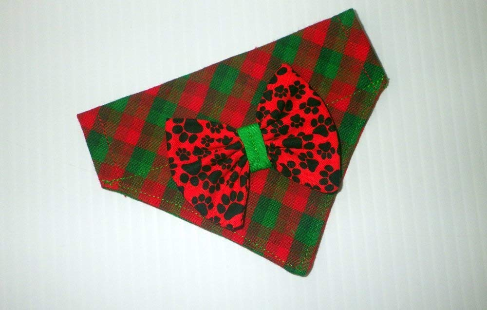 2 in 1 Scottish Plaid Festive Christmas Dog Bandana /& Paw Prints Bow Slip-On Thread Through Over the Collar Holiday Accessories
