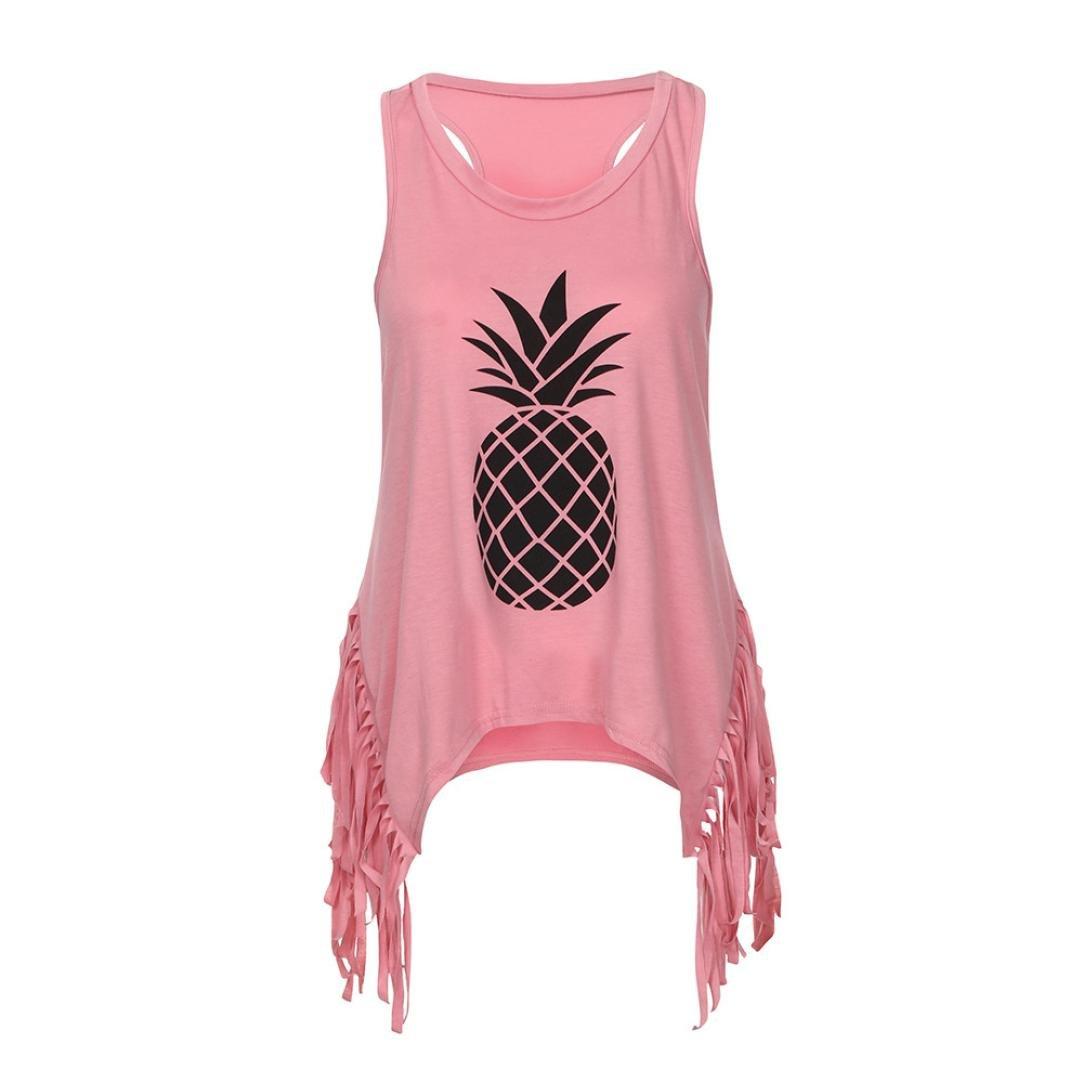 MEEYA Pineapple Print Tops Women's Sleeveless -Shirt Family Fit Mommy Style Women Pineapple Sleeveless T-Shirt Tassel Family