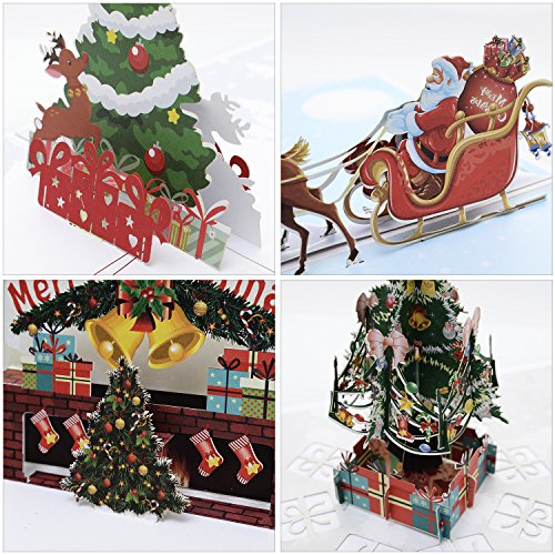 Gngsoh 4 Pack 3D Christmas Pop Up Card with Envelope Smooth for Writing, Handmade Paper Craft Get Well Merry Xmas Greeting Card for New Year Holiday Gift Classic Christmas Designs as Xm Tree Santa (Card Christmas 3d)