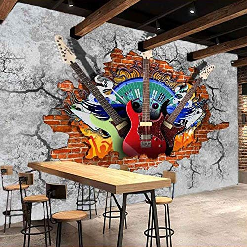 3D Wall Stickers Wallpaper Murals Decorations Guitar Rock Graffiti Art Broken Brick Bar Tooling Home Decoration Art Kids Kitchen (W)300X(H)210Cm