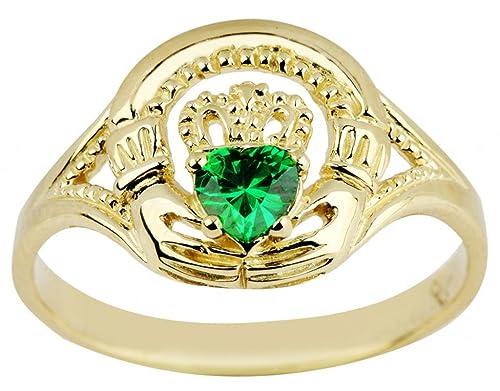 14 K Amarillo Oro Claddagh Promise anillo con corazón, color verde CZ piedra central
