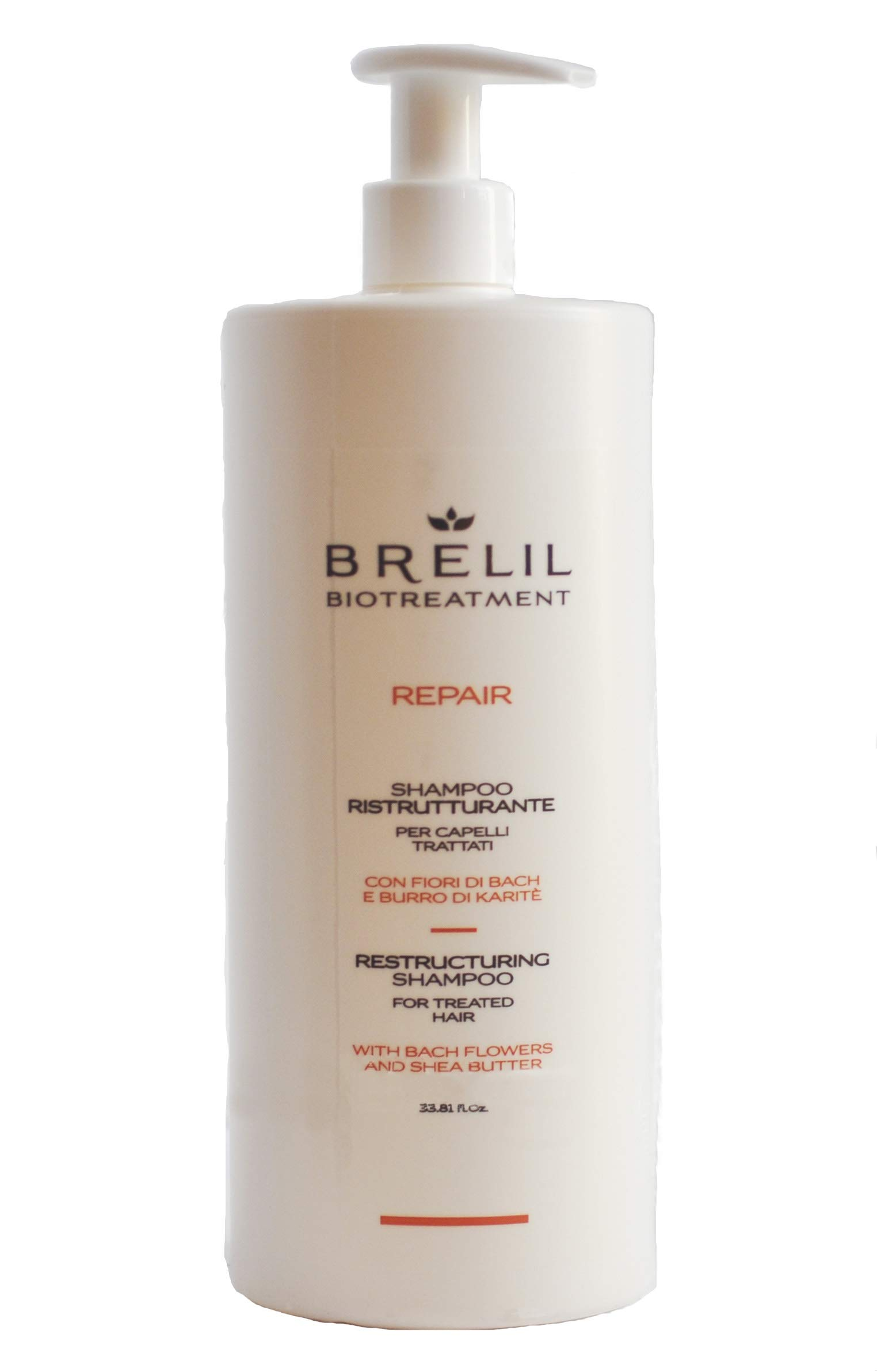 Brelil Bio Treatment Repair Shampoo with Bach Flowers and Organic Shea Butter for Treated Hair (33.81 fl.oz.)