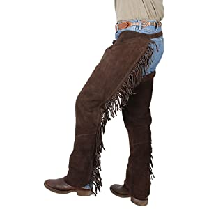 SMALL TOUGH 1 QUALITY SUEDE LEATHER WESTERN FRINGED CHAPS BROWN