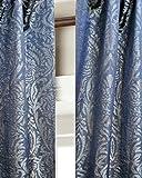 Cheap Blue Isabella Faux Silk Lined Top Pole Pocket Window Curtain Panel Drape (52″W X 84″L)