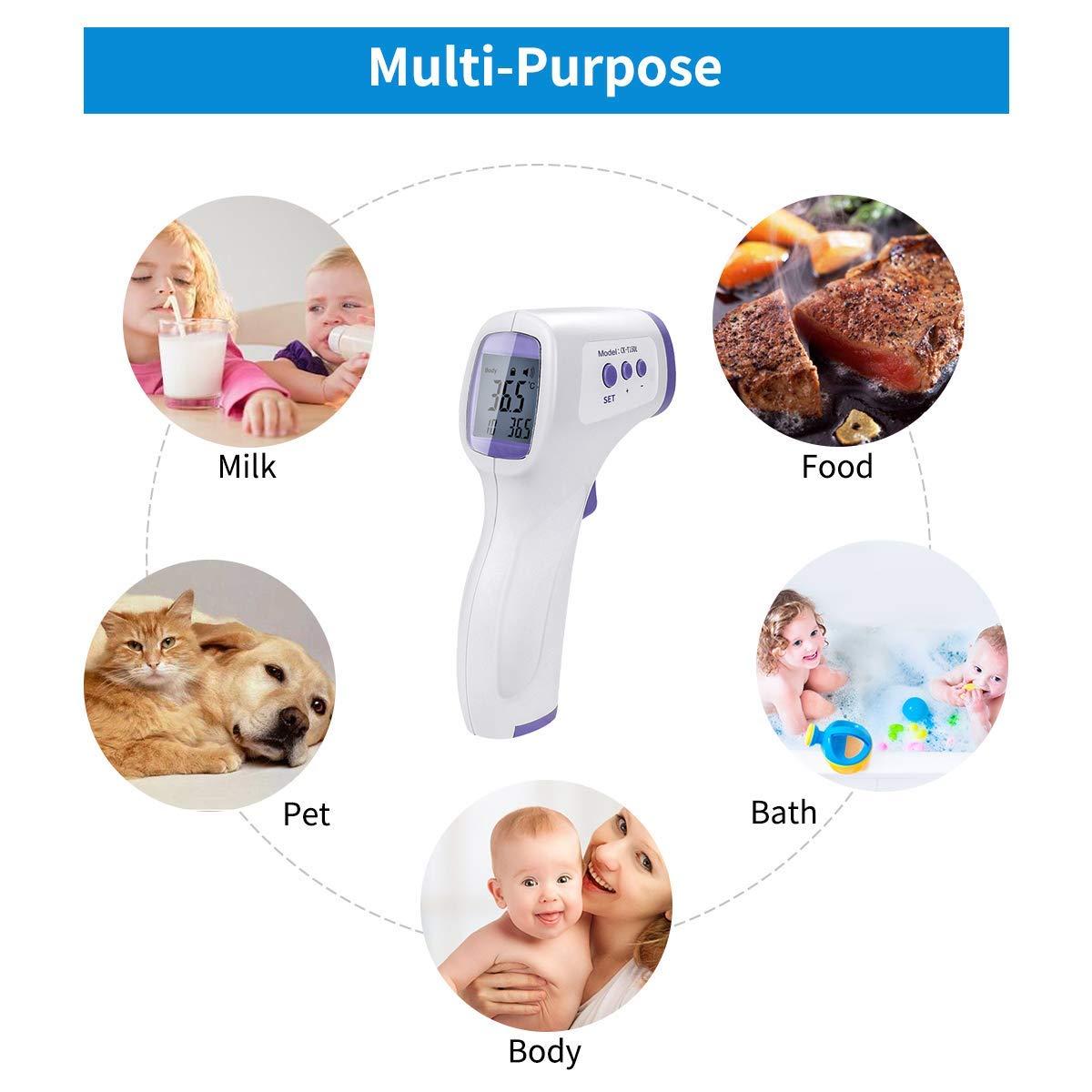 Kinder Erwachsene 2er Pack digitales Mehrzweck-Infrarot-Thermometer Ber/ührungsloses Stirnthermometer mit LCD-Display Stirnthermometer ohne Ber/ührung Geeignet f/ür S/äuglinge