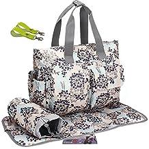 3Pcs LANDUO Women's Baby Diaper Nappy Tote Bag Large Gray Blue