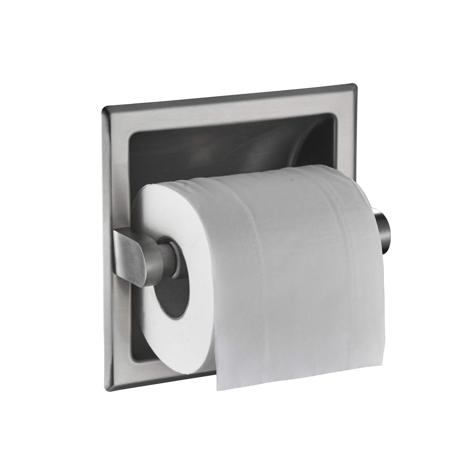 JunSun Brushed Nickel Recessed Toilet Paper Holder Wall Toilet Paper Holder Recessed Toilet Tissue Holder Stainless Steel Toilet Paper Holder Rear Mounting Bracket Included by JunSun (Image #4)