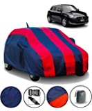 FABTEC Car Body Cover for Maruti Swift (2018-2019) with Mirror Antenna Pocket and Storage Bag (Red & Blue)