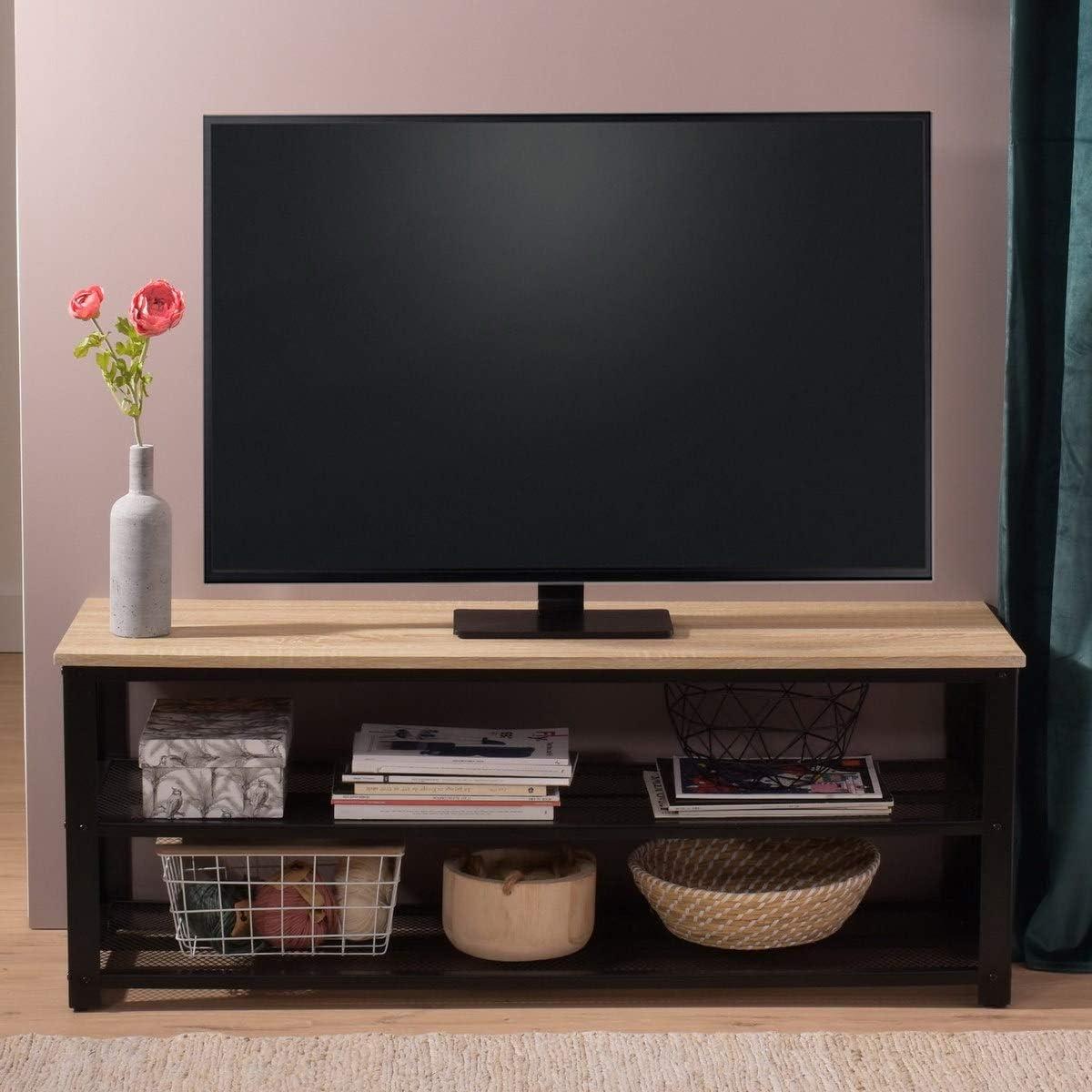 FURNISH 1 Mueble de TV Soporte de TV Mesa de Centro - MDF de Roble, Estructura de Acero Negro -120x40x46cm: Amazon.es: Hogar